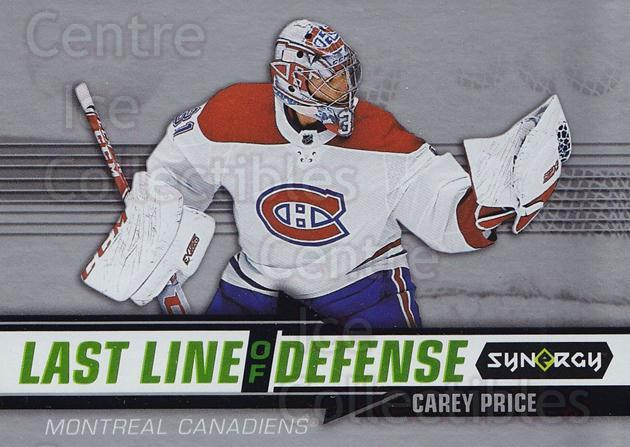 2018-19 Synergy Last Line Of Defense #1 Carey Price<br/>2 In Stock - $5.00 each - <a href=https://centericecollectibles.foxycart.com/cart?name=2018-19%20Synergy%20Last%20Line%20Of%20Defense%20%231%20Carey%20Price...&quantity_max=2&price=$5.00&code=749986 class=foxycart> Buy it now! </a>