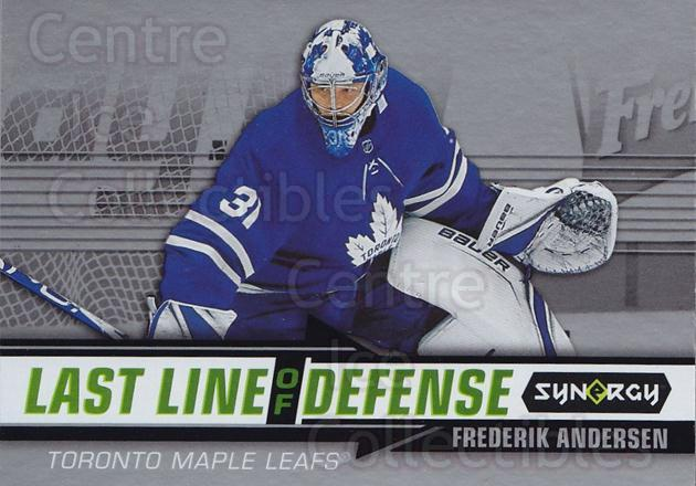 2018-19 Synergy Last Line Of Defense #4 Frederik Andersen<br/>2 In Stock - $3.00 each - <a href=https://centericecollectibles.foxycart.com/cart?name=2018-19%20Synergy%20Last%20Line%20Of%20Defense%20%234%20Frederik%20Anders...&quantity_max=2&price=$3.00&code=749989 class=foxycart> Buy it now! </a>