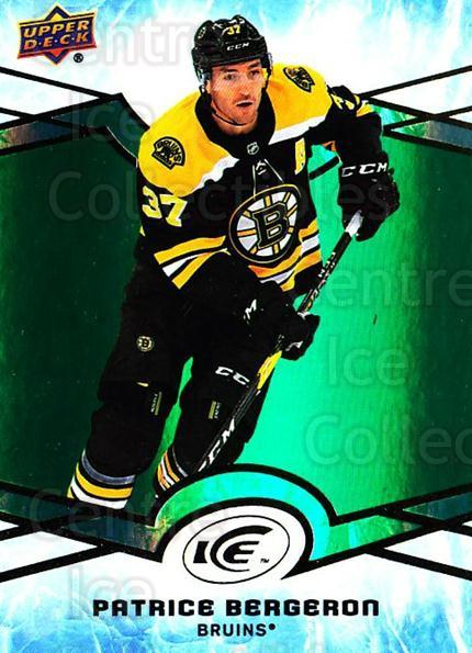 2018-19 UD Ice Green #26 Patrice Bergeron<br/>1 In Stock - $5.00 each - <a href=https://centericecollectibles.foxycart.com/cart?name=2018-19%20UD%20Ice%20Green%20%2326%20Patrice%20Bergero...&quantity_max=1&price=$5.00&code=750816 class=foxycart> Buy it now! </a>