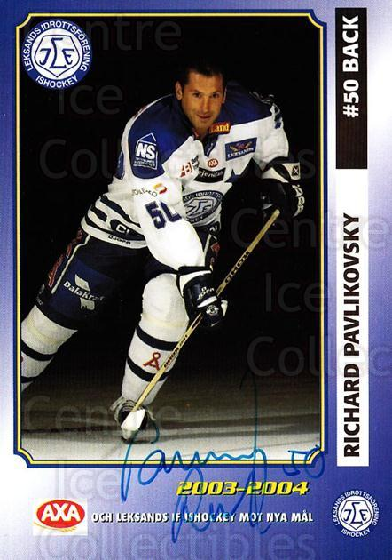 2003-04 Swedish Leksands IF Team Issue #17 Richard Pavlikovsky<br/>1 In Stock - $3.00 each - <a href=https://centericecollectibles.foxycart.com/cart?name=2003-04%20Swedish%20Leksands%20IF%20Team%20Issue%20%2317%20Richard%20Pavliko...&quantity_max=1&price=$3.00&code=751452 class=foxycart> Buy it now! </a>