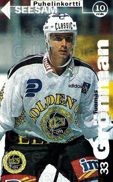 1995-96 Finnish TPS Turku Phone Cards #19 Tuomas Gronman<br/>1 In Stock - $5.00 each - <a href=https://centericecollectibles.foxycart.com/cart?name=1995-96%20Finnish%20TPS%20Turku%20Phone%20Cards%20%2319%20Tuomas%20Gronman...&quantity_max=1&price=$5.00&code=751546 class=foxycart> Buy it now! </a>