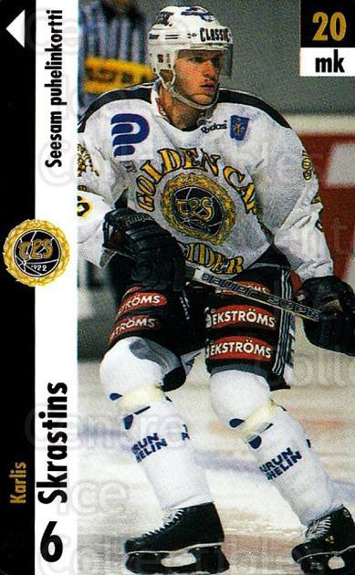 1996-97 Finnish TPS Turku Phone Cards #4 Karlis Skrastins<br/>1 In Stock - $5.00 each - <a href=https://centericecollectibles.foxycart.com/cart?name=1996-97%20Finnish%20TPS%20Turku%20Phone%20Cards%20%234%20Karlis%20Skrastin...&quantity_max=1&price=$5.00&code=751555 class=foxycart> Buy it now! </a>