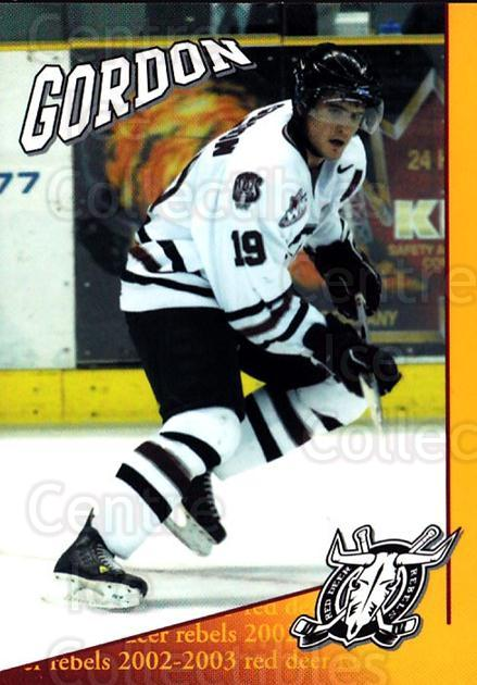 2002-03 Red Deer Rebels #7 Boyd Gordon<br/>2 In Stock - $3.00 each - <a href=https://centericecollectibles.foxycart.com/cart?name=2002-03%20Red%20Deer%20Rebels%20%237%20Boyd%20Gordon...&quantity_max=2&price=$3.00&code=751929 class=foxycart> Buy it now! </a>