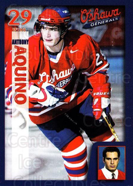 2002-03 Oshawa Generals #21 Anthony Aquino<br/>2 In Stock - $3.00 each - <a href=https://centericecollectibles.foxycart.com/cart?name=2002-03%20Oshawa%20Generals%20%2321%20Anthony%20Aquino...&quantity_max=2&price=$3.00&code=752152 class=foxycart> Buy it now! </a>