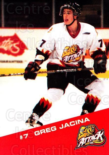 2000-01 Owen Sound Attack #8 Greg Jacina<br/>1 In Stock - $3.00 each - <a href=https://centericecollectibles.foxycart.com/cart?name=2000-01%20Owen%20Sound%20Attack%20%238%20Greg%20Jacina...&quantity_max=1&price=$3.00&code=752390 class=foxycart> Buy it now! </a>