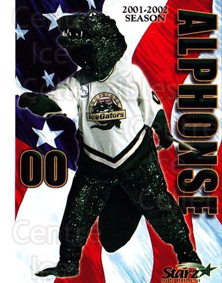 2001-02 Louisiana Ice Gators #25 Mascot<br/>1 In Stock - $3.00 each - <a href=https://centericecollectibles.foxycart.com/cart?name=2001-02%20Louisiana%20Ice%20Gators%20%2325%20Mascot...&quantity_max=1&price=$3.00&code=752682 class=foxycart> Buy it now! </a>