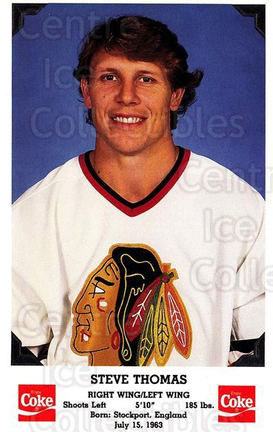 1990-91 Chicago Blackhawks Postcards Coke #7 Steve Thomas<br/>1 In Stock - $3.00 each - <a href=https://centericecollectibles.foxycart.com/cart?name=1990-91%20Chicago%20Blackhawks%20Postcards%20Coke%20%237%20Steve%20Thomas...&quantity_max=1&price=$3.00&code=753207 class=foxycart> Buy it now! </a>