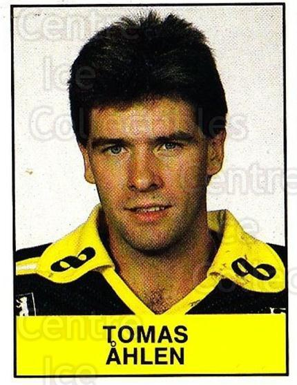 1985-86 Swedish Panini Stickers #9 Tomas Ahlen<br/>1 In Stock - $3.00 each - <a href=https://centericecollectibles.foxycart.com/cart?name=1985-86%20Swedish%20Panini%20Stickers%20%239%20Tomas%20Ahlen...&quantity_max=1&price=$3.00&code=753297 class=foxycart> Buy it now! </a>