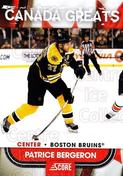 2010-11 Score Canadian Greats #13 Patrice Bergeron<br/>1 In Stock - $5.00 each - <a href=https://centericecollectibles.foxycart.com/cart?name=2010-11%20Score%20Canadian%20Greats%20%2313%20Patrice%20Bergero...&quantity_max=1&price=$5.00&code=753914 class=foxycart> Buy it now! </a>