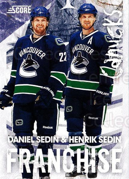 2010-11 Score Franchise #29 Henrik Sedin, Daniel Sedin<br/>1 In Stock - $3.00 each - <a href=https://centericecollectibles.foxycart.com/cart?name=2010-11%20Score%20Franchise%20%2329%20Henrik%20Sedin,%20D...&quantity_max=1&price=$3.00&code=753970 class=foxycart> Buy it now! </a>