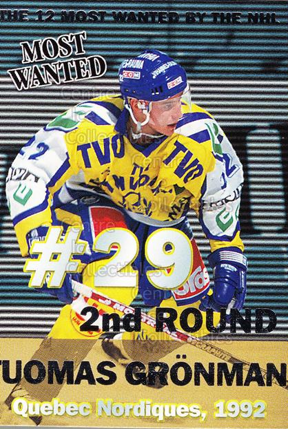 1999-00 Finnish Cardset Most Wanted #11 Tuomas Gronman<br/>11 In Stock - $3.00 each - <a href=https://centericecollectibles.foxycart.com/cart?name=1999-00%20Finnish%20Cardset%20Most%20Wanted%20%2311%20Tuomas%20Gronman...&quantity_max=11&price=$3.00&code=75489 class=foxycart> Buy it now! </a>