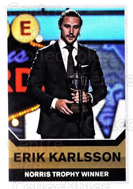 2015-16 Panini Stickers #497 Erik Karlsson, Norris Trophy<br/>1 In Stock - $1.00 each - <a href=https://centericecollectibles.foxycart.com/cart?name=2015-16%20Panini%20Stickers%20%23497%20Erik%20Karlsson,%20...&quantity_max=1&price=$1.00&code=755920 class=foxycart> Buy it now! </a>