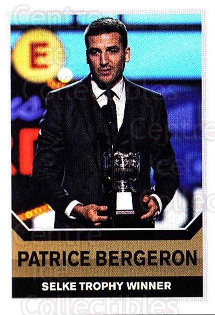 2015-16 Panini Stickers #498 Patrice Bergeron, Selke Trophy<br/>1 In Stock - $3.00 each - <a href=https://centericecollectibles.foxycart.com/cart?name=2015-16%20Panini%20Stickers%20%23498%20Patrice%20Bergero...&quantity_max=1&price=$3.00&code=755921 class=foxycart> Buy it now! </a>