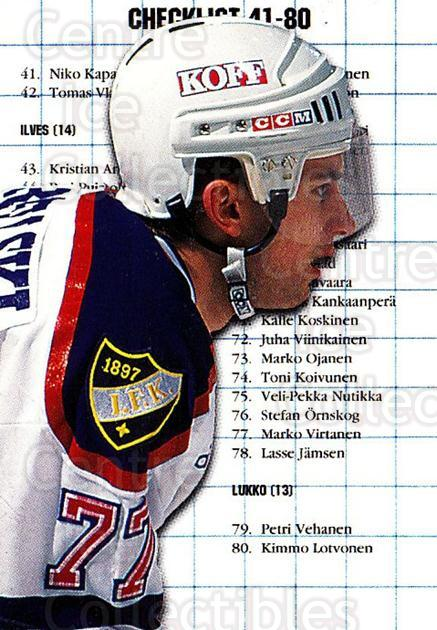 1999-00 Finnish Cardset #2 Brian Rafalski, Checklist<br/>8 In Stock - $2.00 each - <a href=https://centericecollectibles.foxycart.com/cart?name=1999-00%20Finnish%20Cardset%20%232%20Brian%20Rafalski,...&quantity_max=8&price=$2.00&code=75611 class=foxycart> Buy it now! </a>