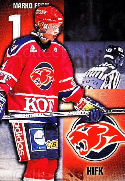 1999-00 Finnish Cardset #22 Marko From<br/>7 In Stock - $2.00 each - <a href=https://centericecollectibles.foxycart.com/cart?name=1999-00%20Finnish%20Cardset%20%2322%20Marko%20From...&quantity_max=7&price=$2.00&code=75633 class=foxycart> Buy it now! </a>
