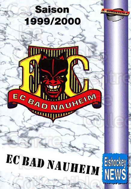 1999-00 German Bundesliga 2 #1 EC Bad Nauheim, Checklist<br/>11 In Stock - $2.00 each - <a href=https://centericecollectibles.foxycart.com/cart?name=1999-00%20German%20Bundesliga%202%20%231%20EC%20Bad%20Nauheim,...&quantity_max=11&price=$2.00&code=75684 class=foxycart> Buy it now! </a>