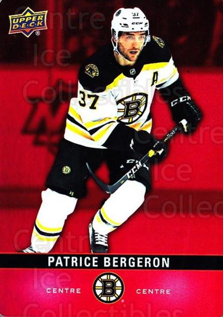 2019-20 Tim Hortons Red Die Cuts #16 Patrice Bergeron<br/>7 In Stock - $3.00 each - <a href=https://centericecollectibles.foxycart.com/cart?name=2019-20%20Tim%20Hortons%20Red%20Die%20Cuts%20%2316%20Patrice%20Bergero...&quantity_max=7&price=$3.00&code=757532 class=foxycart> Buy it now! </a>
