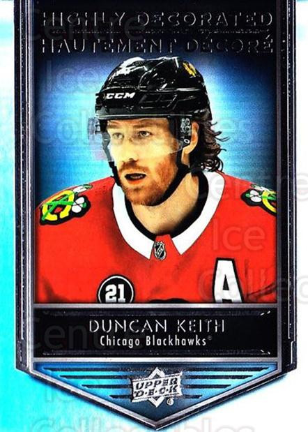 2019-20 Tim Hortons Highly Decorated #5 Duncan Keith<br/>8 In Stock - $3.00 each - <a href=https://centericecollectibles.foxycart.com/cart?name=2019-20%20Tim%20Hortons%20Highly%20Decorated%20%235%20Duncan%20Keith...&quantity_max=8&price=$3.00&code=757579 class=foxycart> Buy it now! </a>