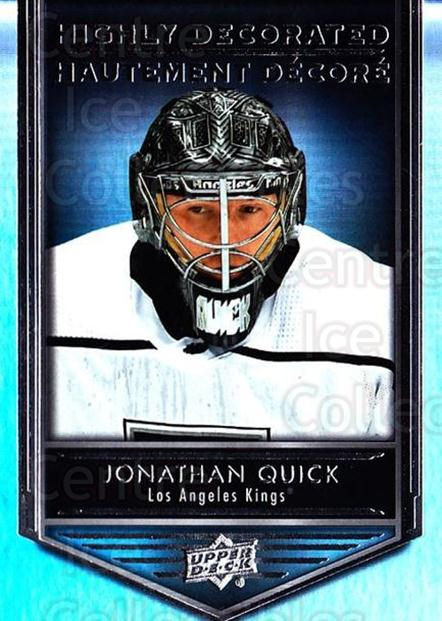 2019-20 Tim Hortons Highly Decorated #9 Jonathan Quick<br/>8 In Stock - $3.00 each - <a href=https://centericecollectibles.foxycart.com/cart?name=2019-20%20Tim%20Hortons%20Highly%20Decorated%20%239%20Jonathan%20Quick...&quantity_max=8&price=$3.00&code=757583 class=foxycart> Buy it now! </a>