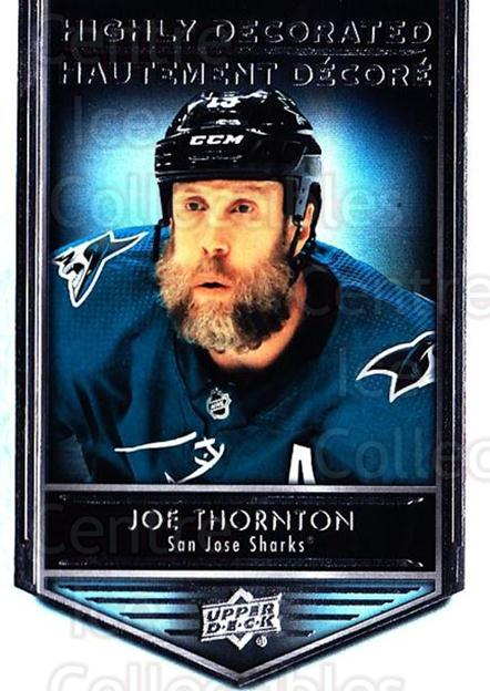 2019-20 Tim Hortons Highly Decorated #12 Joe Thornton<br/>8 In Stock - $3.00 each - <a href=https://centericecollectibles.foxycart.com/cart?name=2019-20%20Tim%20Hortons%20Highly%20Decorated%20%2312%20Joe%20Thornton...&quantity_max=8&price=$3.00&code=757586 class=foxycart> Buy it now! </a>
