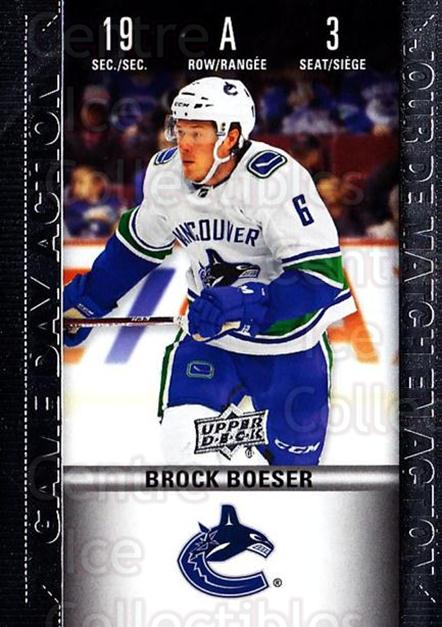 2019-20 Tim Hortons Game Day Action #3 Brock Boeser<br/>6 In Stock - $3.00 each - <a href=https://centericecollectibles.foxycart.com/cart?name=2019-20%20Tim%20Hortons%20Game%20Day%20Action%20%233%20Brock%20Boeser...&quantity_max=6&price=$3.00&code=757592 class=foxycart> Buy it now! </a>