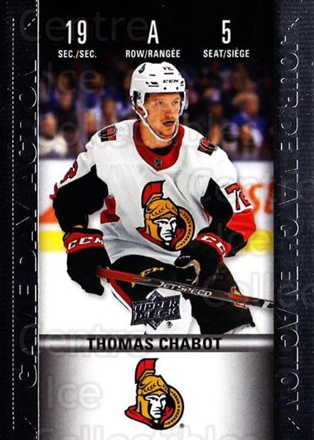 2019-20 Tim Hortons Game Day Action #5 Thomas Chabot<br/>8 In Stock - $3.00 each - <a href=https://centericecollectibles.foxycart.com/cart?name=2019-20%20Tim%20Hortons%20Game%20Day%20Action%20%235%20Thomas%20Chabot...&quantity_max=8&price=$3.00&code=757594 class=foxycart> Buy it now! </a>