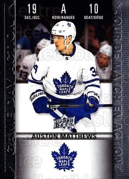 2019-20 Tim Hortons Game Day Action #10 Auston Matthews<br/>8 In Stock - $5.00 each - <a href=https://centericecollectibles.foxycart.com/cart?name=2019-20%20Tim%20Hortons%20Game%20Day%20Action%20%2310%20Auston%20Matthews...&quantity_max=8&price=$5.00&code=757599 class=foxycart> Buy it now! </a>