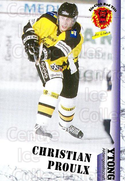 1999-00 German Bundesliga 2 #22 Christian Proulx<br/>11 In Stock - $2.00 each - <a href=https://centericecollectibles.foxycart.com/cart?name=1999-00%20German%20Bundesliga%202%20%2322%20Christian%20Proul...&quantity_max=11&price=$2.00&code=75810 class=foxycart> Buy it now! </a>