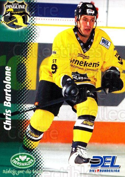 1999-00 German DEL #139 Chris Bartolone<br/>6 In Stock - $2.00 each - <a href=https://centericecollectibles.foxycart.com/cart?name=1999-00%20German%20DEL%20%23139%20Chris%20Bartolone...&quantity_max=6&price=$2.00&code=75876 class=foxycart> Buy it now! </a>