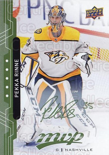 2018-19 Upper Deck MVP Green Script #161 Pekka Rinne<br/>2 In Stock - $3.00 each - <a href=https://centericecollectibles.foxycart.com/cart?name=2018-19%20Upper%20Deck%20MVP%20Green%20Script%20%23161%20Pekka%20Rinne...&quantity_max=2&price=$3.00&code=760369 class=foxycart> Buy it now! </a>