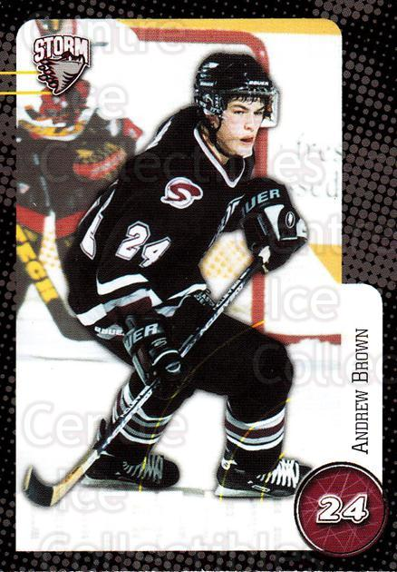 1999-00 Guelph Storm #20 Andrew Brown<br/>1 In Stock - $3.00 each - <a href=https://centericecollectibles.foxycart.com/cart?name=1999-00%20Guelph%20Storm%20%2320%20Andrew%20Brown...&quantity_max=1&price=$3.00&code=76036 class=foxycart> Buy it now! </a>