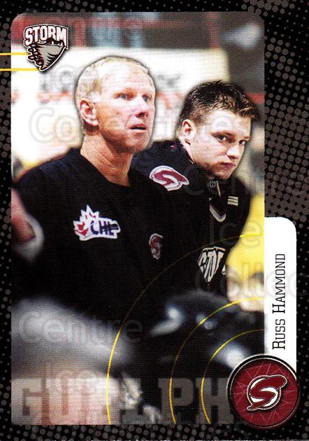 1999-00 Guelph Storm #29 Russ Hammond<br/>1 In Stock - $3.00 each - <a href=https://centericecollectibles.foxycart.com/cart?name=1999-00%20Guelph%20Storm%20%2329%20Russ%20Hammond...&quantity_max=1&price=$3.00&code=76045 class=foxycart> Buy it now! </a>