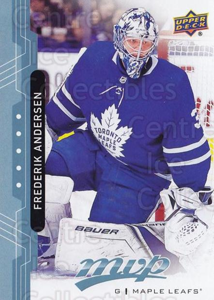2018-19 Upper Deck MVP Blue #197 Frederik Andersen<br/>4 In Stock - $1.00 each - <a href=https://centericecollectibles.foxycart.com/cart?name=2018-19%20Upper%20Deck%20MVP%20Blue%20%23197%20Frederik%20Anders...&quantity_max=4&price=$1.00&code=760874 class=foxycart> Buy it now! </a>