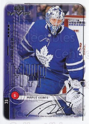 2018-19 Upper Deck MVP 20th Anniversary Tribute Silver Script #87 Frederik Andersen<br/>1 In Stock - $3.00 each - <a href=https://centericecollectibles.foxycart.com/cart?name=2018-19%20Upper%20Deck%20MVP%2020th%20Anniversary%20Tribute%20Silver%20Script%20%2387%20Frederik%20Anders...&quantity_max=1&price=$3.00&code=761425 class=foxycart> Buy it now! </a>