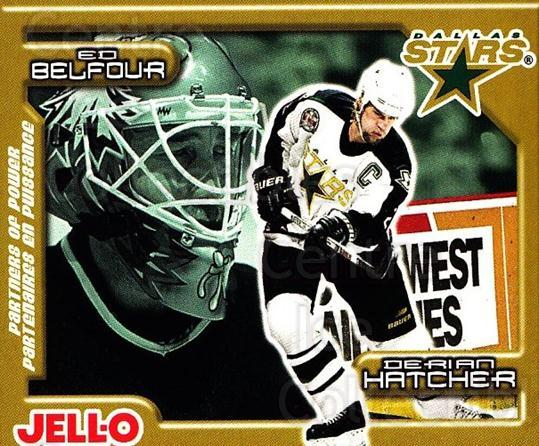 1999-00 Kraft Jell-O Partners of Power Factory #7 Derian Hatcher, Ed Belfour<br/>1 In Stock - $3.00 each - <a href=https://centericecollectibles.foxycart.com/cart?name=1999-00%20Kraft%20Jell-O%20Partners%20of%20Power%20Factory%20%237%20Derian%20Hatcher,...&price=$3.00&code=76155 class=foxycart> Buy it now! </a>