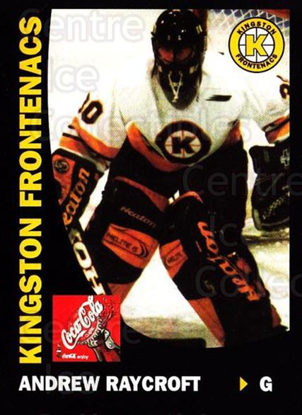1999-00 Kingston Frontenacs #15 Andrew Raycroft<br/>3 In Stock - $3.00 each - <a href=https://centericecollectibles.foxycart.com/cart?name=1999-00%20Kingston%20Frontenacs%20%2315%20Andrew%20Raycroft...&price=$3.00&code=76195 class=foxycart> Buy it now! </a>