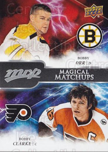 2018-19 Upper Deck MVP Magical Matchups #12 Bobby Orr, Bobby Clarke<br/>1 In Stock - $10.00 each - <a href=https://centericecollectibles.foxycart.com/cart?name=2018-19%20Upper%20Deck%20MVP%20Magical%20Matchups%20%2312%20Bobby%20Orr,%20Bobb...&quantity_max=1&price=$10.00&code=762438 class=foxycart> Buy it now! </a>