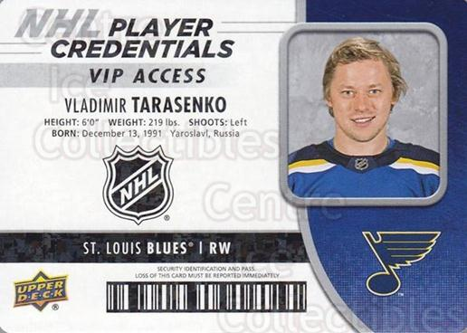 2018-19 Upper Deck MVP Credentials VIP #VT Vladimir Tarasenko<br/>2 In Stock - $3.00 each - <a href=https://centericecollectibles.foxycart.com/cart?name=2018-19%20Upper%20Deck%20MVP%20Credentials%20VIP%20%23VT%20Vladimir%20Tarase...&quantity_max=2&price=$3.00&code=762503 class=foxycart> Buy it now! </a>