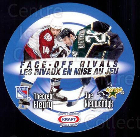 1999-00 Kraft Peanut Butter Face Off Rivals #2 Theo Fleury, Joe Nieuwendyk<br/>2 In Stock - $3.00 each - <a href=https://centericecollectibles.foxycart.com/cart?name=1999-00%20Kraft%20Peanut%20Butter%20Face%20Off%20Rivals%20%232%20Theo%20Fleury,%20Jo...&quantity_max=2&price=$3.00&code=76259 class=foxycart> Buy it now! </a>