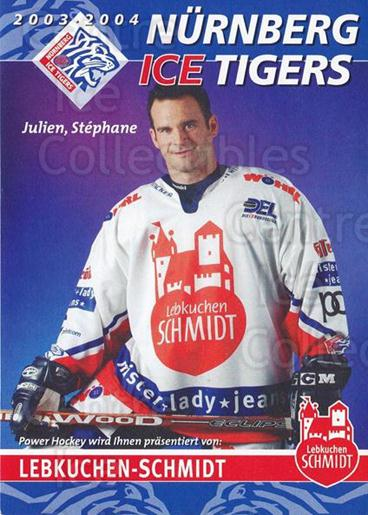 2003-04 German Nurnberg Ice Tigers Postcards #22 Stephane Julien<br/>1 In Stock - $3.00 each - <a href=https://centericecollectibles.foxycart.com/cart?name=2003-04%20German%20Nurnberg%20Ice%20Tigers%20Postcards%20%2322%20Stephane%20Julien...&quantity_max=1&price=$3.00&code=763162 class=foxycart> Buy it now! </a>