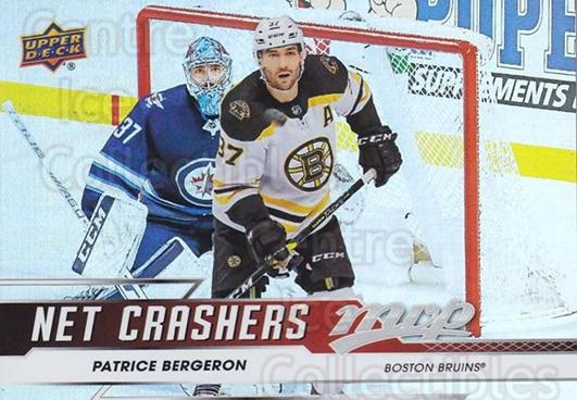 2019-20 Upper Deck MVP Net Crashers #3 Patrice Bergeron<br/>1 In Stock - $3.00 each - <a href=https://centericecollectibles.foxycart.com/cart?name=2019-20%20Upper%20Deck%20MVP%20Net%20Crashers%20%233%20Patrice%20Bergero...&quantity_max=1&price=$3.00&code=764338 class=foxycart> Buy it now! </a>