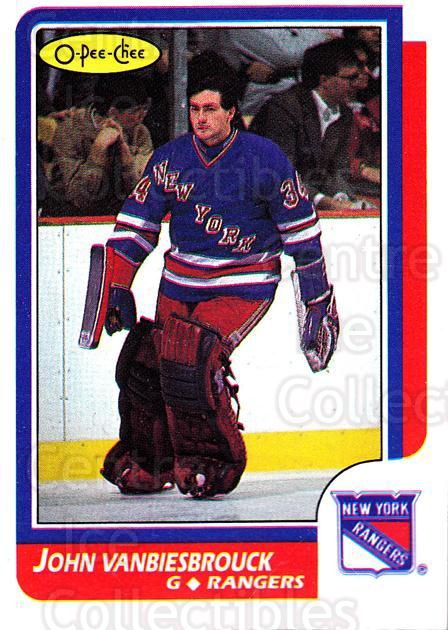 1986-87 O-pee-chee Blank Backs #9 John Vanbiesbrouck<br/>1 In Stock - $30.00 each - <a href=https://centericecollectibles.foxycart.com/cart?name=1986-87%20O-pee-chee%20Blank%20Backs%20%239%20John%20Vanbiesbro...&quantity_max=1&price=$30.00&code=765696 class=foxycart> Buy it now! </a>