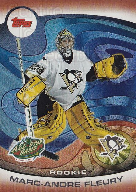 2004 Topps AS Fantasy Redemption #4 Marc-Andre Fleury<br/>1 In Stock - $10.00 each - <a href=https://centericecollectibles.foxycart.com/cart?name=2004%20Topps%20AS%20Fantasy%20Redemption%20%234%20Marc-Andre%20Fleu...&quantity_max=1&price=$10.00&code=766195 class=foxycart> Buy it now! </a>