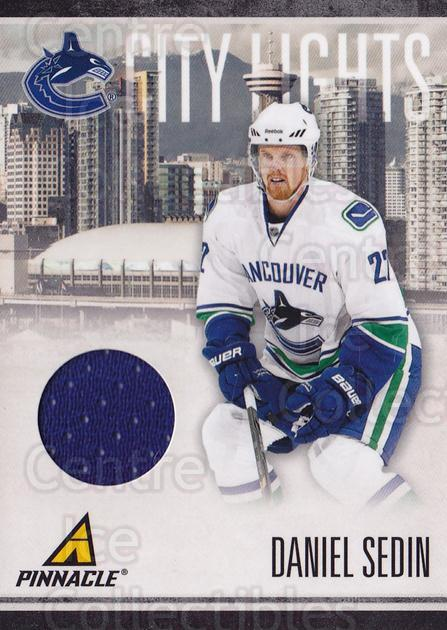 2010-11 Pinnacle City Lights Materials #13 Daniel Sedin<br/>1 In Stock - $10.00 each - <a href=https://centericecollectibles.foxycart.com/cart?name=2010-11%20Pinnacle%20City%20Lights%20Materials%20%2313%20Daniel%20Sedin...&quantity_max=1&price=$10.00&code=766314 class=foxycart> Buy it now! </a>