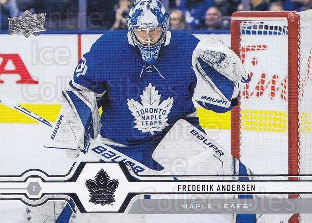 2019-20 Upper Deck #7 Frederik Andersen<br/>14 In Stock - $1.00 each - <a href=https://centericecollectibles.foxycart.com/cart?name=2019-20%20Upper%20Deck%20%237%20Frederik%20Anders...&quantity_max=14&price=$1.00&code=766916 class=foxycart> Buy it now! </a>