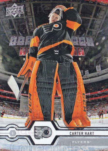 2019-20 Upper Deck #77 Carter Hart<br/>14 In Stock - $1.00 each - <a href=https://centericecollectibles.foxycart.com/cart?name=2019-20%20Upper%20Deck%20%2377%20Carter%20Hart...&quantity_max=14&price=$1.00&code=766986 class=foxycart> Buy it now! </a>