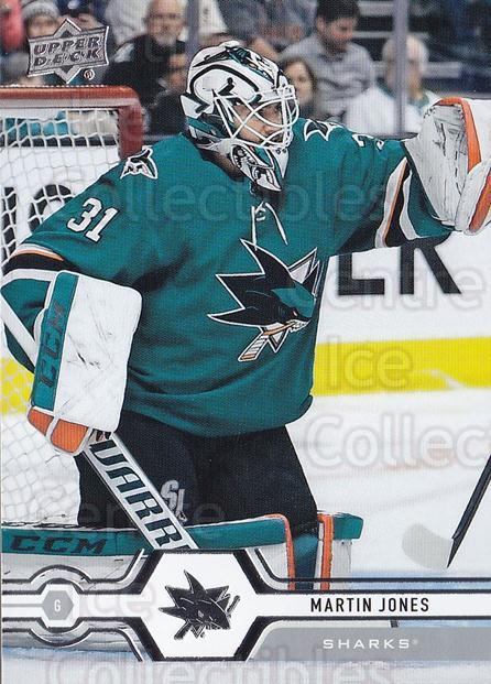 2019-20 Upper Deck #167 Martin Jones<br/>15 In Stock - $1.00 each - <a href=https://centericecollectibles.foxycart.com/cart?name=2019-20%20Upper%20Deck%20%23167%20Martin%20Jones...&quantity_max=15&price=$1.00&code=767076 class=foxycart> Buy it now! </a>