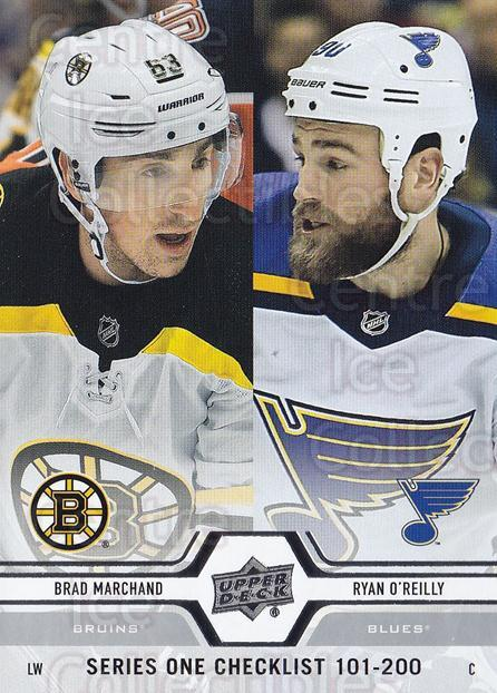 2019-20 Upper Deck #200 Brad Marchand, Ryan O'Reilly, Checklist<br/>15 In Stock - $1.00 each - <a href=https://centericecollectibles.foxycart.com/cart?name=2019-20%20Upper%20Deck%20%23200%20Brad%20Marchand,%20...&quantity_max=15&price=$1.00&code=767109 class=foxycart> Buy it now! </a>