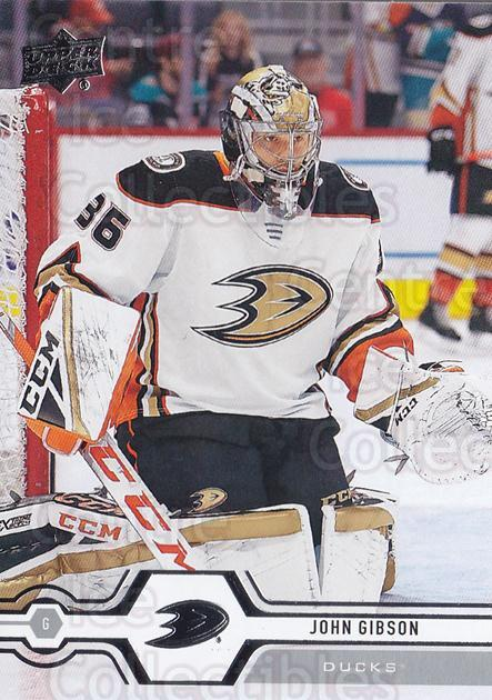 2019-20 Upper Deck #424 John Gibson<br/>15 In Stock - $1.00 each - <a href=https://centericecollectibles.foxycart.com/cart?name=2019-20%20Upper%20Deck%20%23424%20John%20Gibson...&quantity_max=15&price=$1.00&code=767333 class=foxycart> Buy it now! </a>