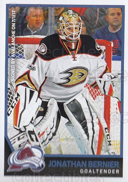 2017-18 Panini Stickers #296 Jonathan Bernier<br/>1 In Stock - $1.00 each - <a href=https://centericecollectibles.foxycart.com/cart?name=2017-18%20Panini%20Stickers%20%23296%20Jonathan%20Bernie...&quantity_max=1&price=$1.00&code=768105 class=foxycart> Buy it now! </a>
